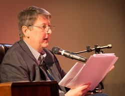 Peter Oresick reads last October at the Carnegie Lecture Hall, in Oakland. - PHOTO COURTESY OF RENEE ROSENSTEEL