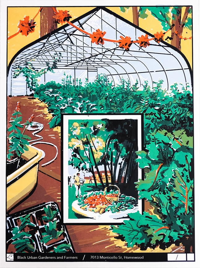 Barber's silkscreen print of Black Urban Gardeners and Farmers' location in Homewood. - COURTESY OF CHARLIE BARBER