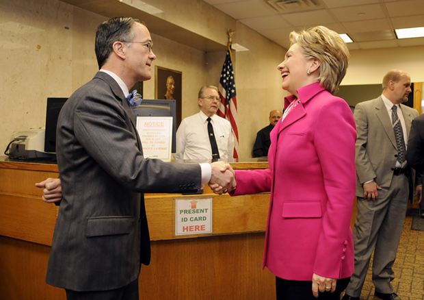 Post-Gazette Publisher John Robinson Block getting a photo with Hillary Clinton, although not on a private plane