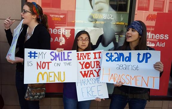 Women rally outside of McDonald's, in Oakland - PHOTO BY REBECCA ADDISON