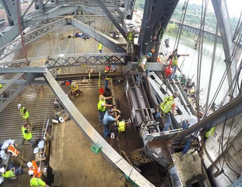 Construction on the Liberty Bridge - PHOTO COURTESY OF JOSEPH B. FAY COMPANY