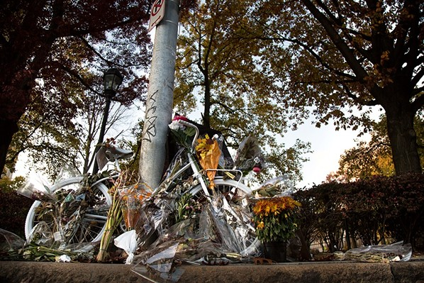Susan Hicks ghost bike on Forbes Avenue in Oakland - CP PHOTO BY THEO SCHWARZ