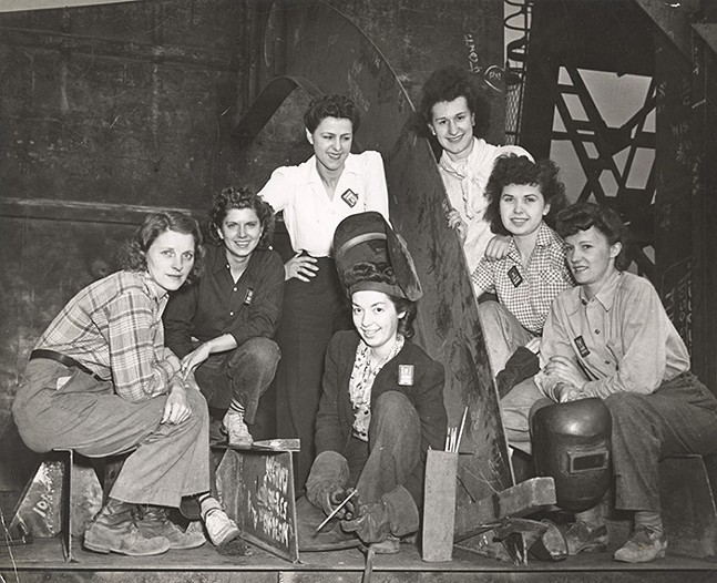 Women Welders at Dravo pose for a group photo, 1943-1944, part of the We Can Do It! WWII exhibit at Heinz History Center — see Mon., June 14 - PHOTO: COURTESY OF DETRE LIBRARY AND ARCHIVES AT THE HEINZ HISTORY CENTER