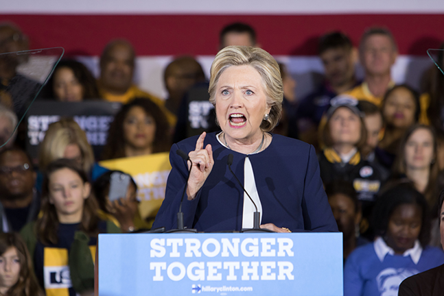 """This is one of those make or break moments for the United States,"""" Clinton said, urging the crowd to get out and vote. """"It's in your hands."""" - CP PHOTO BY LUKE THOR TRAVIS"""