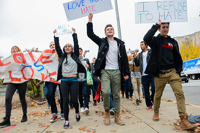 CMU drama students protest Trump's victory on Wed., Nov. 9 - CP PHOTO BY STEPHEN CARUSO