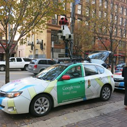 Google Street View car equipped with methane sensor (the methane sensor is in the trunk; the device on top is a Street View camera) - CP PHOTO BY BILL O'DRISCOLL