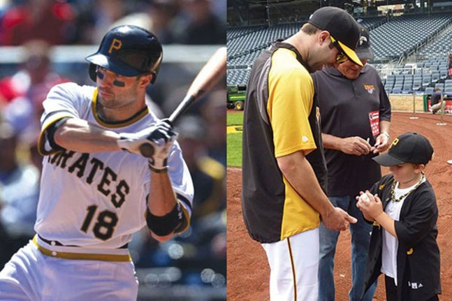 """From our 2013 cover story, """"Hometown Hero"""": Neil Walker, at bat (left); Walker signs a ball for fan Bradyn Roberts."""
