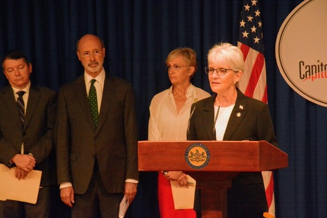 State Sen. Carolyn Comitta, D-Chester, speaks at a press conference on RGGI on June 14, 2021. - CAPITAL-STAR PHOTO BY STEPHEN CARUSO