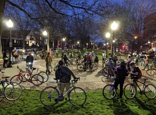 Critical Mass riders meeting in Bloomfield in March - PHOTO COURTESY PITTSBURGH CRITICAL MASS