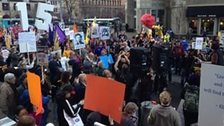 Protesters fill Liberty Avenue, Dowtown - CP PHOTO RYAN DETO