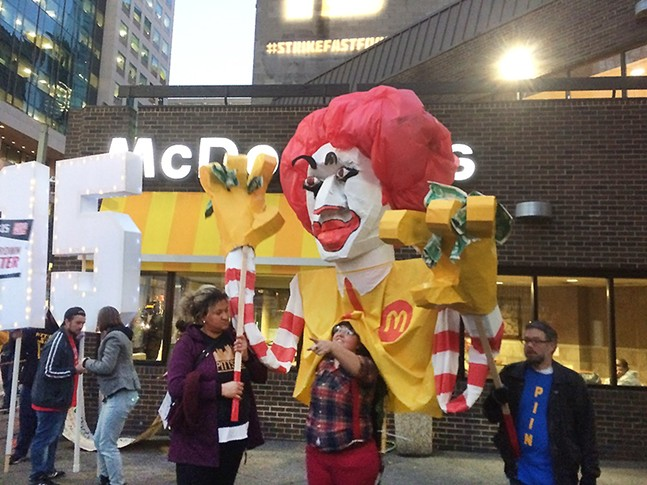 Protesters outside the Stanwix Street McDonald's - PHOTO BY LUKE THOR TRAVIS