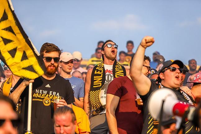 The Steel Army cheers on the Pittsburgh Riverhounds. - PHOTO: KAYCEE ORWIG