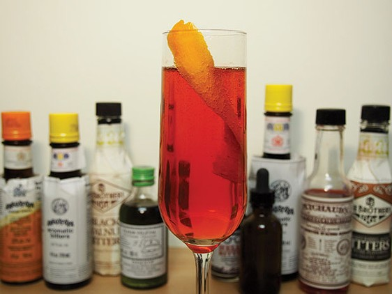 A Seelbach and an array of  bitters - CP PHOTO BY DREW CRANISKY