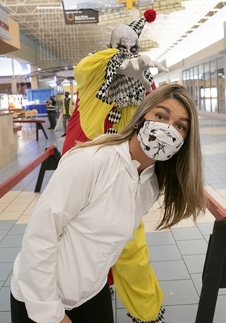 A visitor masks up during ScareHouse at the Galleria at Pittsburgh Mills - COURTESY OF SCAREHOUSE