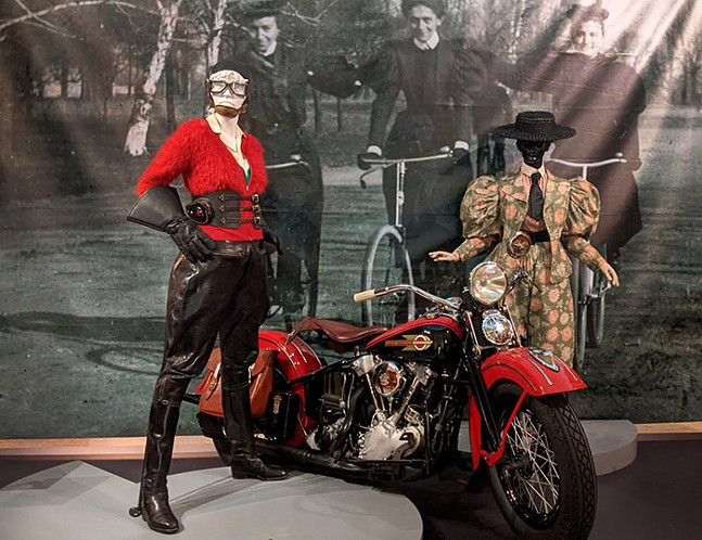 Motorcycle and cycling outfits at Frick Art Museum's Sporting Fashion: Outdoor Girls 1800 to 1960 - CP PHOTO: AMANDA WALTZ