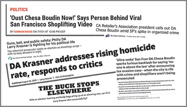 Online news headlines on district attorneys from San Francisco and Philadelphia