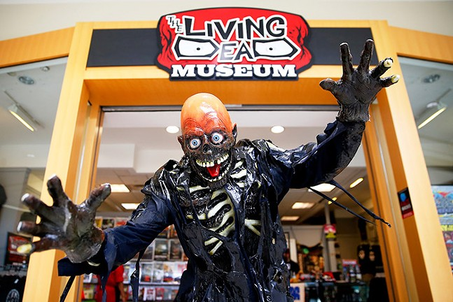 Jeff Crehan, dressed as Tarmar from the - Return of the Living Dead movie, poses outside the - Living Dead Museum inside the Monroeville Mall, - the location of Dawn of the Dead - CP PHOTO: JARED WICKERHAM