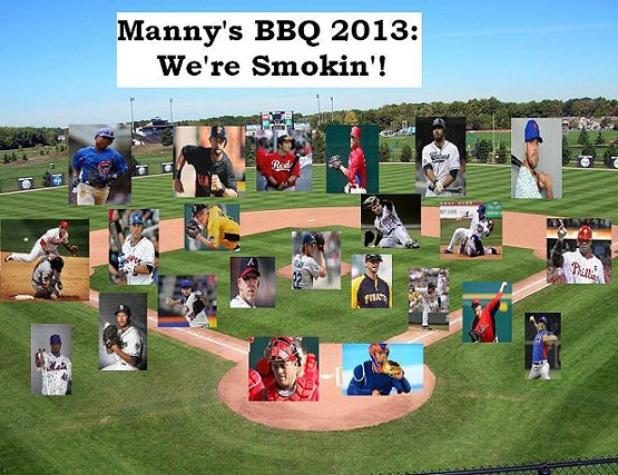 The ridiculous media guide for the 2013 opening day lineup for the Manny's Barbecue fantasy baseball team - PHOTO ILLUSTRATION BY CHARLIE DEITCH