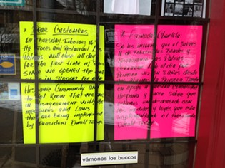 Sign in the window of Las Palmas bar and restaurant saying they are closed for Day Without Immigrants event. - CP PHOTO BY RYAN DETO