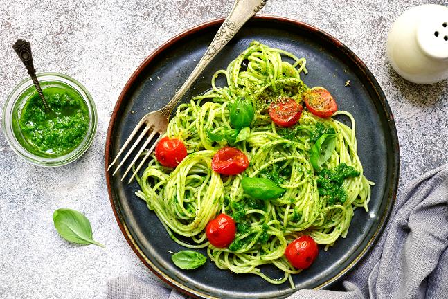 stock image of pesto pasta