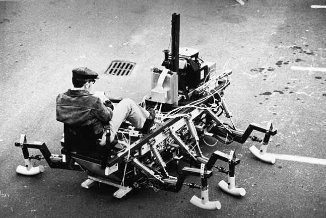 Ivan Sutherland demonstrates the Trojan Cockroach, a walking machine developed by Sutherland and his team at Carnegie Mellon University in the 1980s - PHOTO: COURTESY OF CARNEGIE MELLON UNIVERSITY