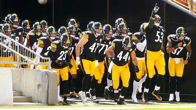 Pittsburgh Steelers exit the tunnel in a game in September 2020 - CP PHOTO: JARED WICKERHAM