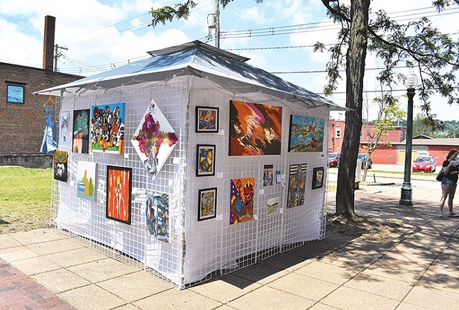 Art displayed in Roadkill Gallery's cube-like structure - PHOTO: COURTESY OF ROADKILL GALLERY