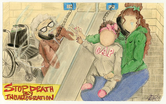 End Death by Incarceration by Angela Hellman, 2020; colored pencil on a manila envelope - PHOTO: COURTESY OF LET'S GET FREE