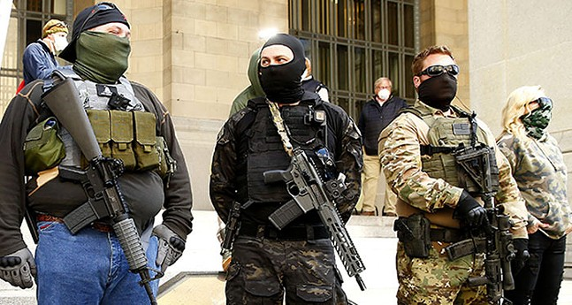 Members of Iron City Citizens Response Unit at anti-quarantine rally in Downtown Pittsburgh in April 2020 - CP PHOTO: JARED WICKERHAM