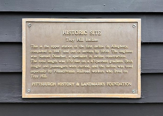 Historic Site plaque by the Pittsburgh History and Landmarks Foundation at 1733 Lowrie St., Troy Hill - COURTESY OF LENKA CLAYTON AND PHILLIP ANDREW LEWIS