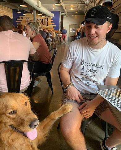 Owen Gabby and Archer, Eleventh Hour's house brewery dog, become new BFFs. - CP PHOTO: ALEX KILYANEK