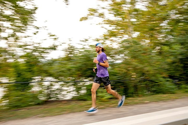 Greg Brunner completes a speed workout on the Millvale River Trail on Aug. 10, 2021. - CP PHOTO: KAYCEE ORWIG