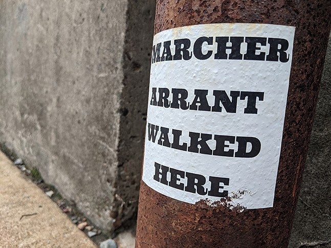 One of Marcher Arrant's stickers outside the East End Food Co-op - CP PHOTO: LISA CUNNINGHAM
