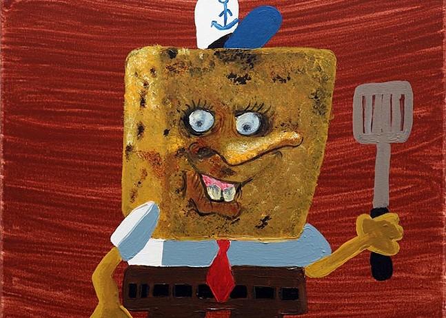 Darian Johnson's SpongeBob SquarePants, part of In the Flesh at VaultArt Studio - PHOTO: DARIAN JOHNSON/COURTESY OF VAULTART STUDIO