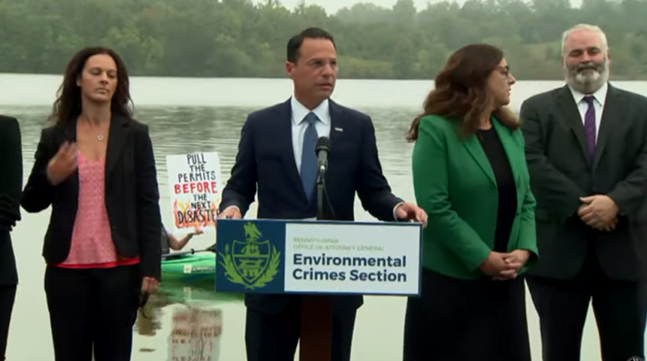 Pennsylvania Attorney General Josh Shapiro announced criminal charges against pipeline company Energy Transfer - SCREENSHOT FROM VIRTUAL PRESS CONFERENCE