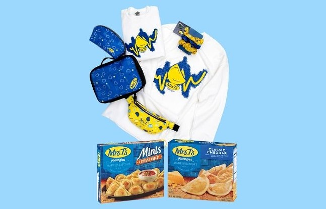 The four winners of Mrs. T's Pierogies' That and a Box of Pierogies Giveaway will receive a year's supply of pierogies and a '90s swag set. - COURTESY OF MRS. T'S PIEROGIES