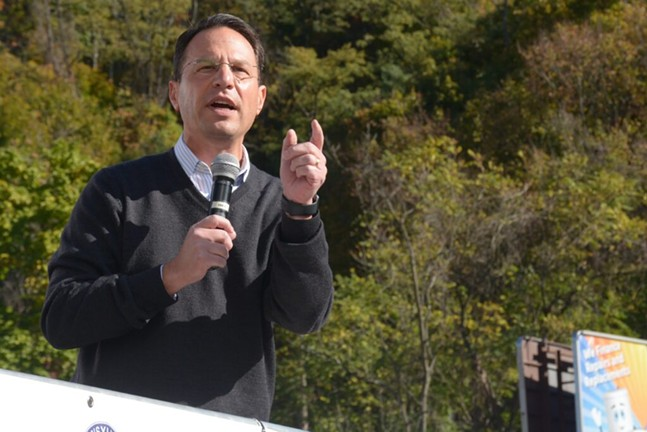 Pa. Attorney General Josh Shapiro speaks at a union rally on Oct. 16, 2020 in Pittsburgh - CAPITAL-STAR PHOTO BY STEPHEN CARUSO