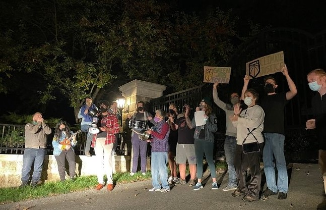 Activists from Democratic Socialists of America, Sunrise Movement, and the Ohio Valley Environmental Resistance outside of Heather Bresch's Sewickley home. - PHOTO: LAURYN STALTER