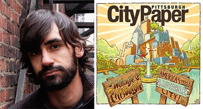Pittsburgh artist Joe Mruk with his City Paper cover illustration