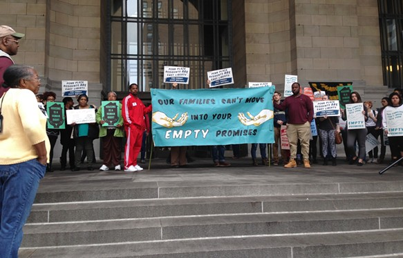 More than 80 housing advocates rally in front of City-County Building Downtown - CP PHOTO BY RYAN DETO