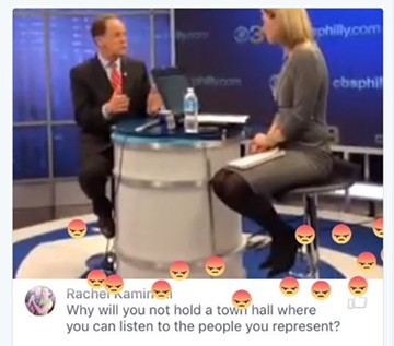 Screenshot from CBS 3 Philadelphia Facebook live feed of Pat Toomey's interview - IMAGE COURTESY OF WHAT'S PAT UP TO? TWITTER PAGE