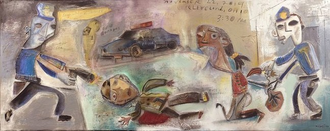 """Within Two Seconds, The Shooting of Tamir Rice,"" a painting by Tom Megalis"
