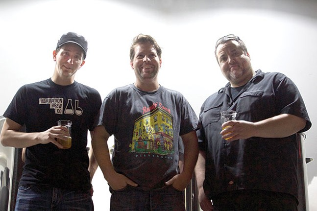 Left to right: Dave Allam, Parkway Theater owner Aaron Stubna and Tom Glover - CP PHOTO BY KRISTA JOHNSON
