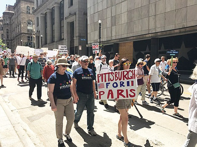 Pittsburghers protest the Paris Agreement withdrawal on June 3. - CP PHOTO BY BILL O'DRISCOLL
