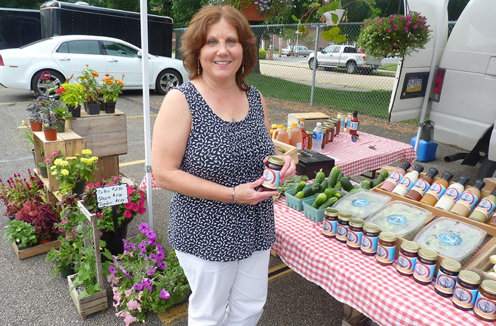 Ford City borough councilor Kathy Bartuccio at the Ford City farmers market in June - CP PHOTO BY REBECCA ADDISON