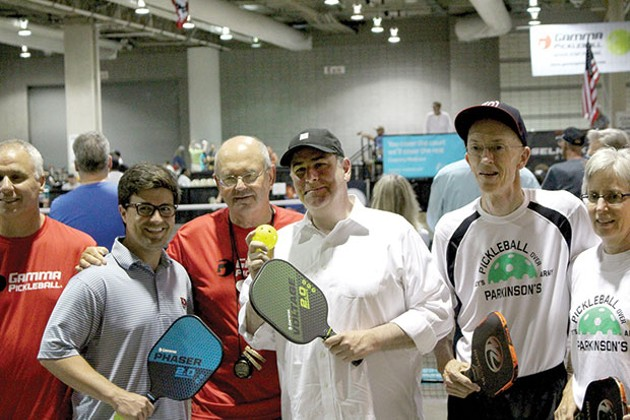 Pittsburgh City Councilor Corey O'Conner (left) and Mayor Bill Peduto (center) played some pickleball. - CP PHOTO BY BILLY LUDT