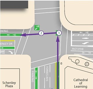 "An example of how cyclists should use a ""Copenhagen"" Left in Oakland. - IMAGE COURTESY OF DEPARTMENT OF CITY PLANNING"