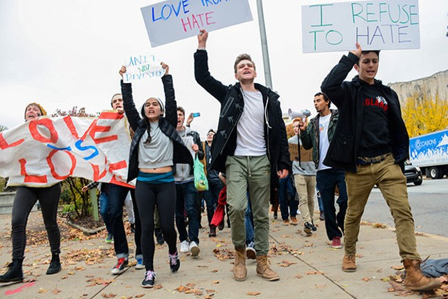 CMU drama students protest Trump's victory on Wed., Nov. 9, 2016 - CP PHOTO BY STEPHEN CARUSO
