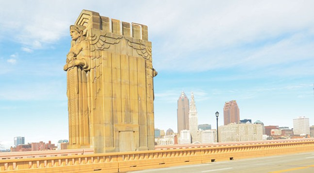 The Guardians of Traffic stand on the Lorain-Carnegie bridge in Cleveland. - CLEVELAND PHOTO BY ERIK DROST