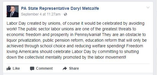 Metcalfe's Labor Day comment - IMAGE COURTESY OF FACEBOOK
